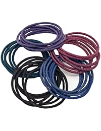 Evogirl Elastic Rubber Band Metal Free Soft Fabric Basic Shade Thin Hair Ties For Women (Pack Of 30)