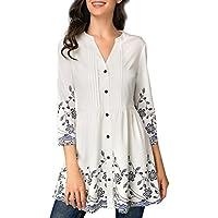 Moonuy Damen Long Fashion Bluse Frauen Dreiviertel-Shirt Weiß Casual Knopf V-Ausschnitt Gedruckt Vintage Sleeve Tops Stilvolle Kleidung