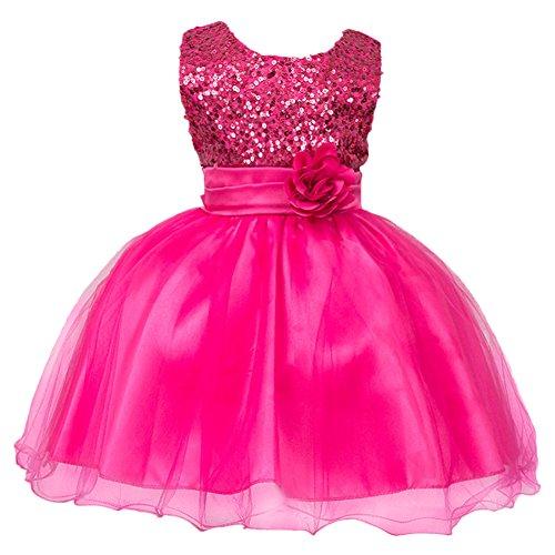 Mädchen Kinder Mit Kleider Pailletten Blumenmädchenkleider Hochzeitskleid Brautjungfern Kleid Prinzessin Hochzeit Abendkleid Geburtstag Kurzes Kleid Festzug Ballkleid Heißes Rosa
