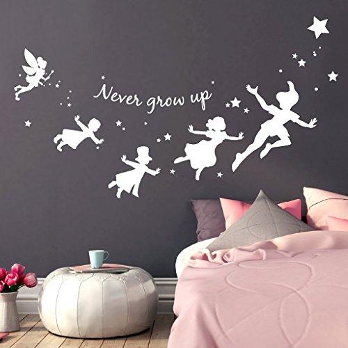 Wandtattoo Loft® Schriftzug 'never grow up' mit Sternen, inspiriert durch Peter Pan und seine Freunde / Wandtattoo / Wandaufkleber / 54 Farben / 3 Größen / enzianblau / 45 cm hoch x 80 cm breit