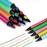 Magicdo 24 couleurs aquarelles stylos avec des timbres, lavable non toxique marqueurs colorés stylo pour enfants dessin, griffonnage et coloriage