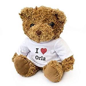 London Teddy Bears Oso de Peluche con Texto en inglés I Love Orla, Bonito y Adorable, Regalo de cumpleaños, Navidad, San Valentín
