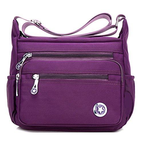 Bolso de hombro para mujer, cruzado, estilo cartero, impermeable, de nailon, color Morado, talla S