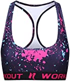 NESSFIT Women's Sport Bra Compression Top Running Fitness Gym Supported Workout Racer Back (Medium, Chaos - Bra)