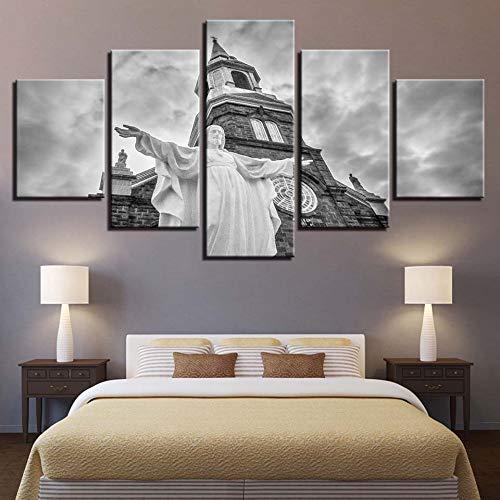 Cnvuos Leinwand malerei wandkunst Rahmen 5 stücke Christus Jesus Kirche Bilder hd drucken Christentum Poster modulare wohnkultur Wohnzimmer, 30x40 30x60 30x80 cm, no fram