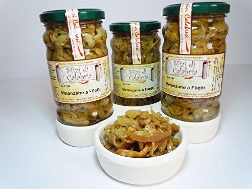 Melanzane sottolio a filetti in olio vaso 290gr , prodotti tipici calabresi senza coloranti, antipasto calabria