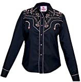 Modestone Women's Embroidered Long Sleeved Fitted Western Hemd Floral Black XS