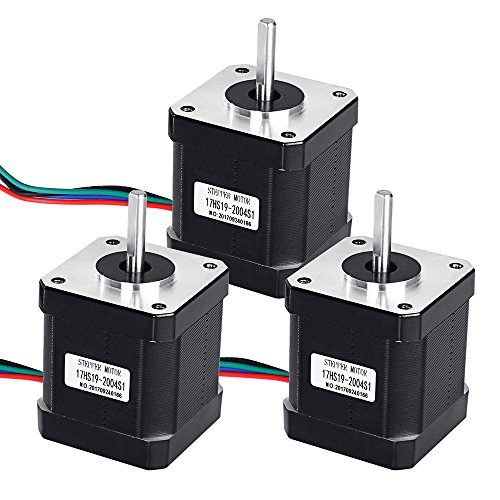 TopDirect 3 Pack Nema 17 Stepper Motor 2A 0.59Nm(84.3 oz.in) 47mm Body 4-lead w/ 1m 4-Pin Cable and Connector + 3 Pack Mounting Bracket with M3 Screws for 3D Printer/CNC