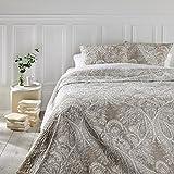 Set aus Tagesdecke und 2 Kissenbezügen – Große Größe – romantischer Stil – Farbe Beige und Weiß