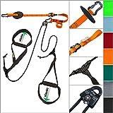 eaglefit Sling-Trainer ALLROUND Elastic, Fitnessgerät, Schlingentrainer inkl. Umlenkrolle, Längenverstellung 90 - 310 cm, für Profis & Beginner, Farbe: Orange
