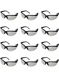 Kurtzy 12-tlg. Set Schwarze Schutzbrille Sicherheitsbrille Arbeitsschutzbrille mit Klaren Linsen von Großes Set Brillen für Chemie Labor, Baustellen, Chemikalien u. mehr - Bequemes Flexibles Design