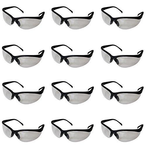 Pack 12 Gafas de Seguridad Negras Lentes Transparentes Protectoras por Kurtzy - Gran Set de Gafas Protectoras Laboratorio Química, Construcciones, al Usar Químicos y Más - Cómodas con Diseño Flexible