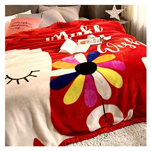Decke Flanell Quilt Startseite Eindickung Winter warm Napping atmungsaktiv und geschmeidig Little (Color : Red)