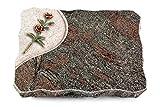 MEMORUM Grabmale Grabplatte, Grabstein, Grabkissen, Urnengrabstein, Liegegrabstein Modell Folio 40 x 30 x 5 cm Paradiso-Granit, Poliert inkl. Gravur (Bronze-Color-Ornament Rose 6)