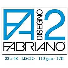 Fabriano F2 06200534, Album da Disegno, Formato 33 x 48 cm, Fogli Lisci, Grammatura 110gr/m2, 12 Fogli