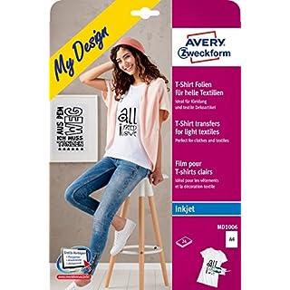 AVERY Zweckform MD1006 Textilfolien für helle Textilien (A4, 210 x 297 mm) 24 Blatt