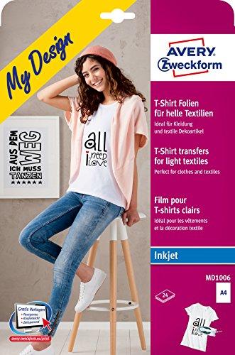 AVERY Zweckform MD1006 Textilfolien für helle Textilien (210x297 mm auf DIN A4, bedruckbare T-Shirt Folie zum Aufbügeln, Inkjet-/Tintenstrahldrucker) 24 Transferfolien weiß