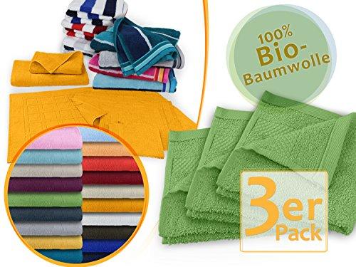 hochwertige Bio-Handtuchserie - erhältlich in 19 trendigen Unifarben oder 7 Streifen - in 7 verschiedenen Größen, 3er-Pack Seiftücher 30 x 30 cm, matchagrün