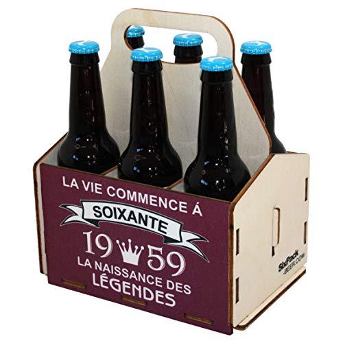 Porte-bouteilles de bière en bois, pack de 6 bières, panier de 6, panier pour six bières, anniversaire 60 ans, cadeau d'anniversaire 60 ans, 60ème anniversaire, anniversaire homme 60 ans, 1959