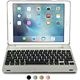 Funda con teclado Apple iPad Air 2 / Pro 9.7, [NUEVA] COOPER KAI SKEL Q0 Carcasa con teclado inalámbrico Bluetooth, 14 atajos para portátil, Macbook, batería externa iPad Pro 9.7 / iPad Air Plata