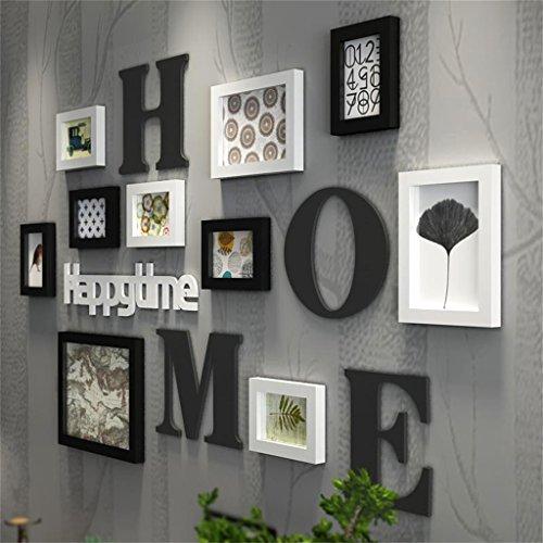 (WEIB-Bilderrahmen Holz Bilderrahmen Set 10 Stück, Mashup Stil groß Multi Bild Foto Wand DIY Kombination Treppe dekorative Malerei, L126 * H75cm, schwarz/weiß / blau (Farbe : Schwarz+Weiss))