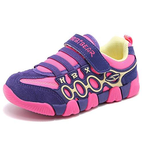 Jungen Running Sneakers Hook & Loop Mädchen leichte Sportart Schuhe Turnschuhe für Unisex-Kinder(Purpur/Rosa)