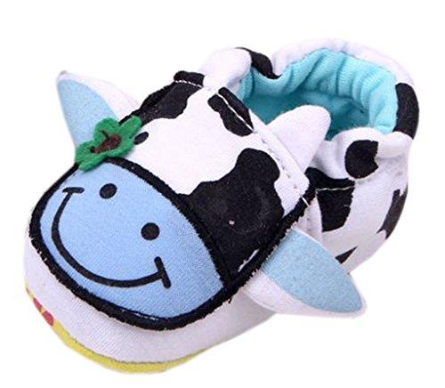 Bigood Chaussures Bébé Vache Fleur Semelle Souple Premier Pas Marche