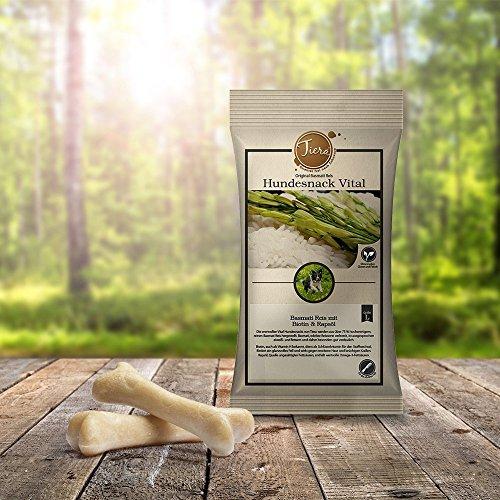 Gesunde Hundeleckerlie vegan | Zahnpflege Kauknochen | Tiera Vital Basmati Reis Snack L mit Biotin und Rapsöl
