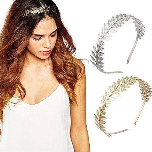 DRESHOW Römische Göttin Blatt Zweig Zierliche Braut Haar Crown Kopf Kleid Boho Alice Band, 2 Stück, Gold und Silber
