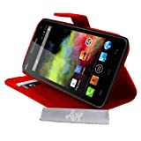 Etui Housse Luxe Rouge Stand & Portefeuille Wiko Rainbow et Rainbow 4G + STYLET et 3 FILM OFFERT