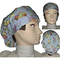 Cappello. chirurgica. Carrozzine. Per i capelli lunghi. Asciugamano sulla fronte Regolazione facile con tenditore. Cotton. Fatto a mano.