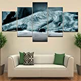 Rjjrr Hd Impreso Modern Home Decor Canvas Living Room 5 Panel Red Eyes White Wolf Painting Wall Art Modular Poster Framework Pictures Decor del dormitorio 30x40cm