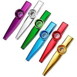 Anpro 6 Stück Kazoo Kazoo Set aus Metall 6 Kazoo Membran Metallkazoo Musik in 6 Farben, EINWEG