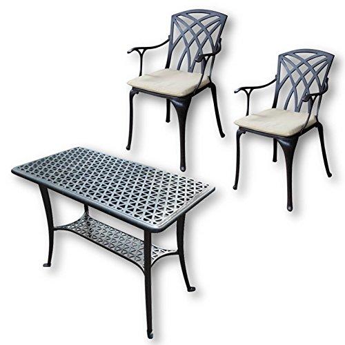 Lazy Susan - BBQ Grillparty Beistelltisch mit 2 APRIL Stühlen - Gartenmöbel Set aus Metall, Weiß
