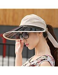 sombrero de la pesca Vaciar el sombrero de copa sombrero al aire libre del sol del verano Turista femenino de gran sombrero de ala del sombrero del sol derriba lentes UV
