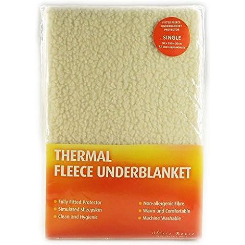 Coprimaterasso termico in pile, caldo, sagomato con angoli, 100% poliestere/ pile/poliestere, Under Blanket, Super