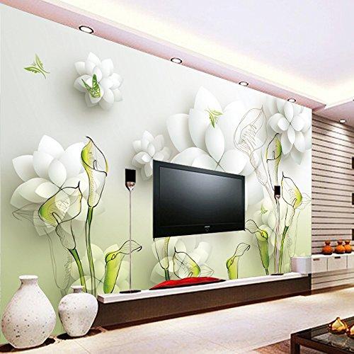 BBSLT Calla Lily dipinte a mano e 3D TV parete di sfondo senza saldatura non-tessuto (Calla Kit)