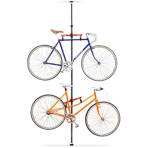 Relaxdays Teleskop Fahrradhalterung für 2 Räder Fahrrad Deckenhalterung Fahrradhalterung Garage Fahrradhalter Wand, Stahl und Kunststoff höhenverstellbar ausziehbar, HxBxT 335 x 41,5 x 12,5 cm