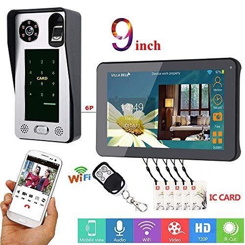 Ic-telefon (9 Zoll Wired Wired WiFi Fingerprint IC Card Video Door Door Doorbell Intercom System mit Door Access Control System (1 Camera+1 Monitor))
