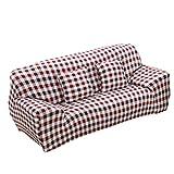MagiDeal 1-Sitz / 3-Sitzer Modern Stretch Sofabezüge Sofahusse Couch Sofa Husse Wohnzimmer Haus Dekoration , Farben und Größe Auswählbar - Kaffee kariert   , 190-230cm