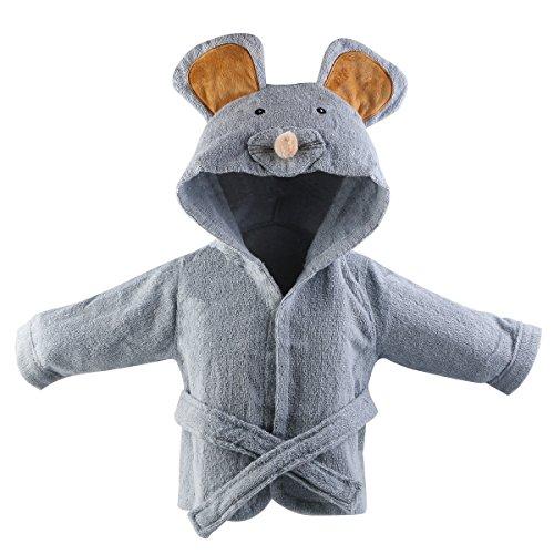 URAQT Baby Bademantel mit Kapuze,Baumwoll Säuglings Kapuzenbademantel,Verschiedene Tier-Designs (Maus)