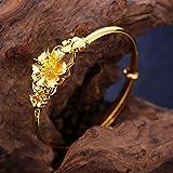 YANQIMAOYI Bracelet créatif Vintage Style Chinois lis Femme Bijoux plaqué Or...