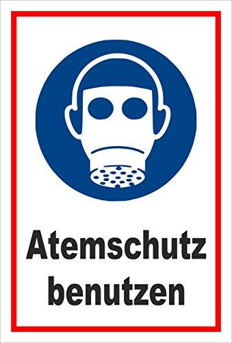 Schild - Gebots-zeichen - Atem-schutz benutzen - entspr. DIN ISO 7010 / ASR A1.3 - 45x30cm mit Bohrlöchern | stabile 3mm starke Aluminiumverbundplatte - S00361-034-B +++ in 20 Varianten