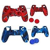 Videoleuchte Schutzhüllen Schutz-Silikon + 2Paar Kappen Schutzkappen Joystick Kunststoff für PS4Controller–Rot Camo und Blau Camo