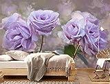 Yosot Benutzerdefinierte Schöne Rose Blume Tapete Wandbild Lila 3D Wohnzimmer Tapeten Und Modernen Luxus Fototapete-300Cmx210Cm