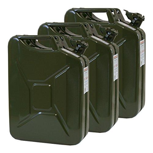 3x 20 Liter Benzinkanister Metall GGVS mit Sicherungsstift oliv Stahlblech 3er Set