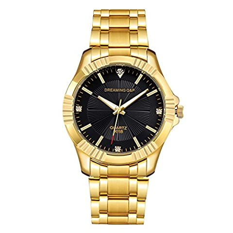 Gold Stainless Steel Men's Watch - 005 IP Plated Dress Wristwatch for Male,Crystal Index,Adjustable Length
