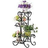 Malayas porte pots plante fleurs 4 étagères support jardin en métal fer pliable 80*50*25cm charge max 40kg