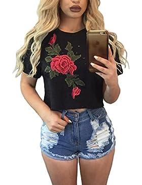 Mujer Verano Manga Corta Rose Flor Impreso Blusa Casual Tops T Shirt Con Cuello Redondo Crop Tops