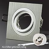 "Lu-Mi® Einbaustrahler GU10 ALU Einbaurahmen ""Silber"" Eckig SD-1047 inkl. GU10 Fassung, schwenkbar"